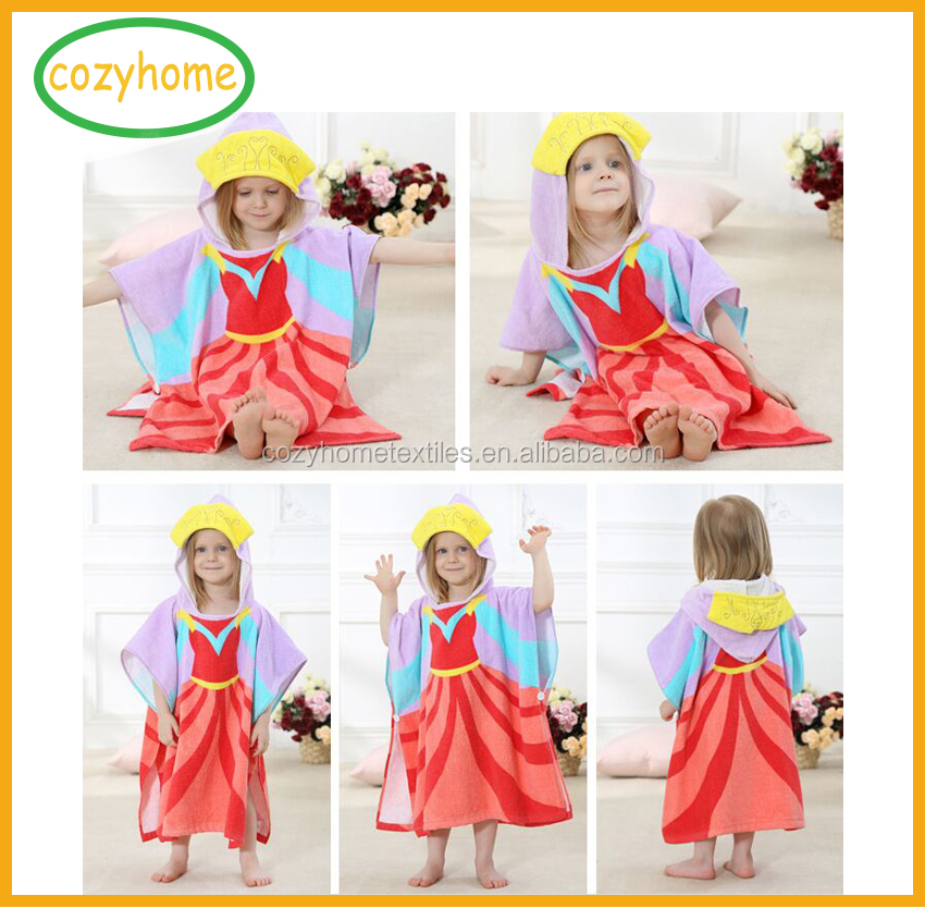 China Top quality kids Christmas gift pure cotton velour reactive printing kids hooded poncho towel animal swimming bath towel
