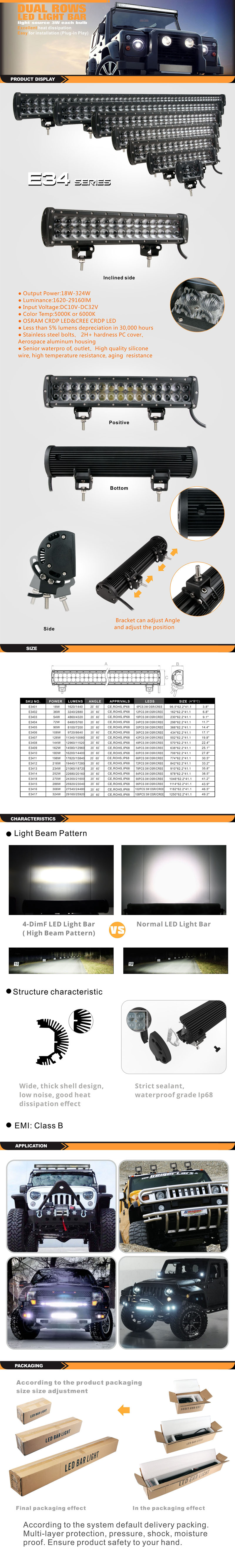 MC-34 4-50 inch Led Light Bar For Vehicles And Trucks &UTV