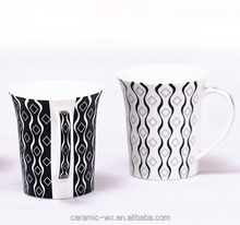 11oz oversize black and white ceramic coffee and juice cup