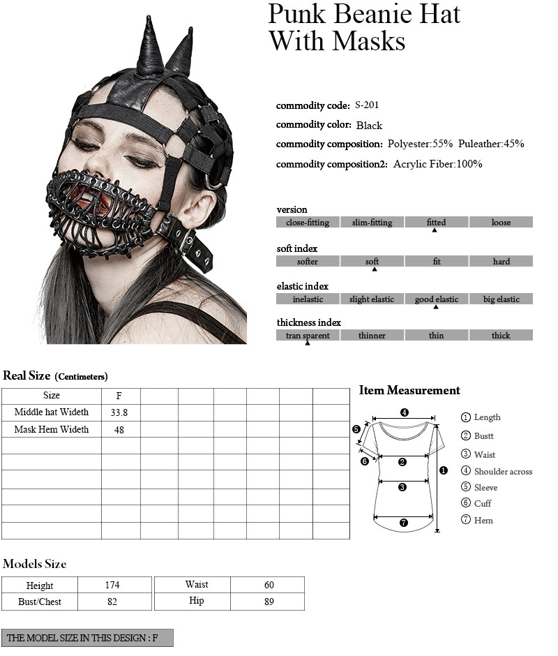 S-201 Punk Accessories Masks Turtleneck Cap Elastic Beanie Hat For Performance