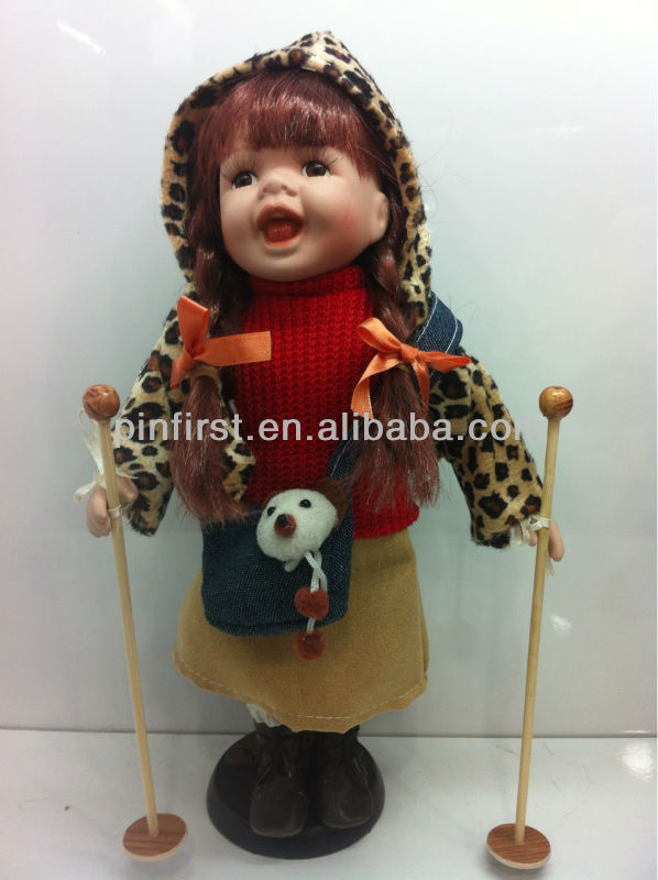 12inch Porcelain Stand Music Winter Baby Girl Skiing Dolls