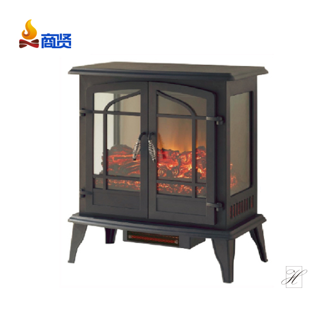 China 25 Inch 3 Sided Cast Iron Wood Fireplace Indoor Freestanding