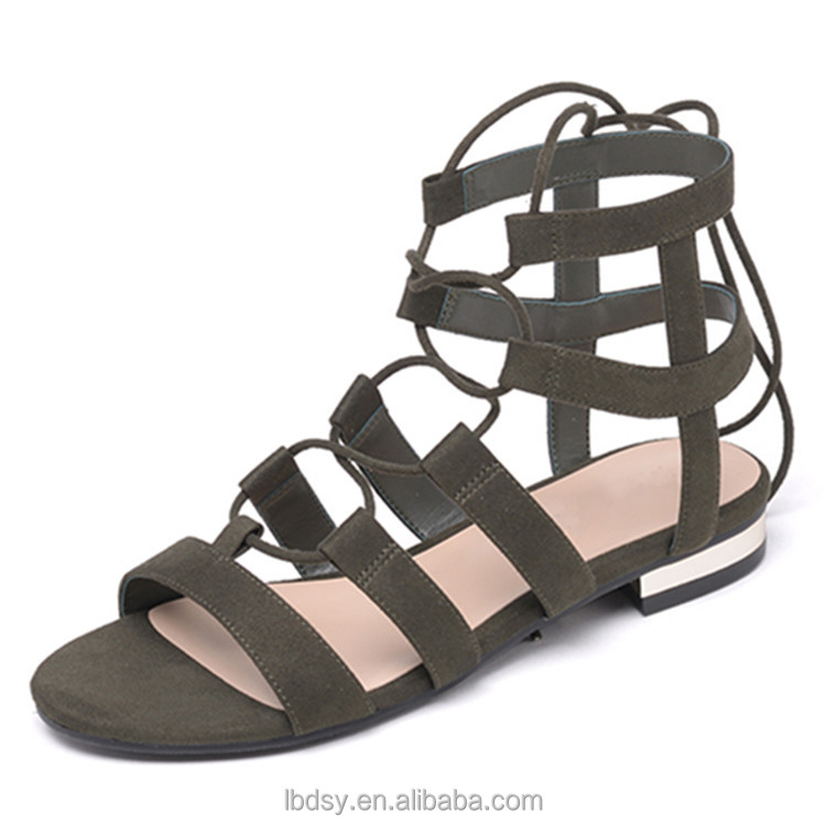 Italian strappy flat summer fashion sandal 2016 women shoes