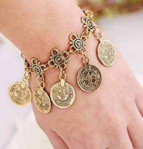 Flamboyantgoods Boho Tribal Ethnic Coin Tassel Gypsy Festival Turkish Anklet Bracelet Jewelry