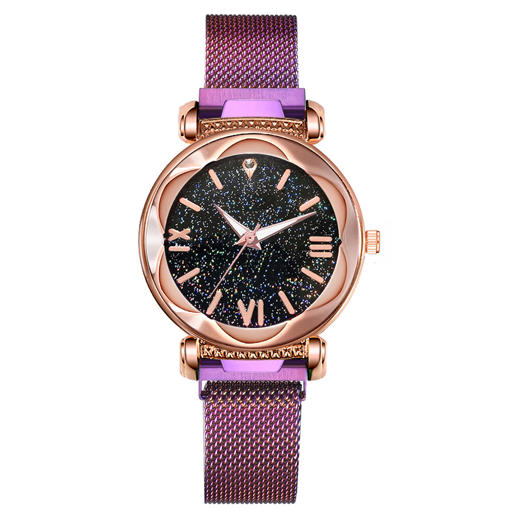 Meibo Women Mesh magnetic Strap Starry Sky Quartz Wrist Purple Watches For Women JAW-0591