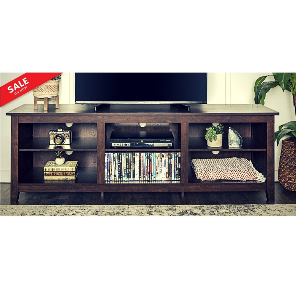 """Tv Console Table with Storage Adjustable Shelves 70"""" Entertainment Center Multimedia Organizer Furniture TV Cabinet Sleek Contemporary Ample Storage Cable Management - Brown eBook by BADA shop"""