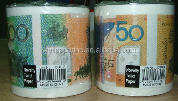Money Toilet Paper Euro Banknote Printed Novelty Tissue Roll