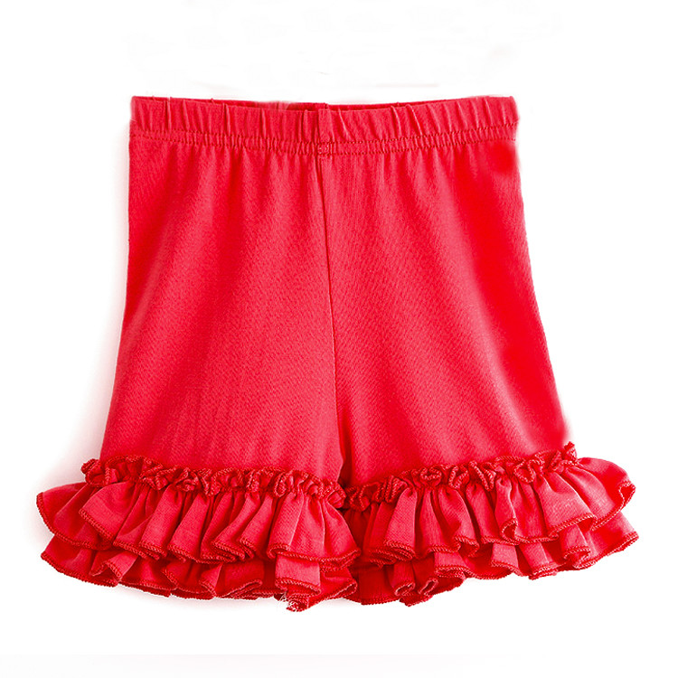 Factory sale short pants plain color ruffle baby girl shorts wholesale children short clothing for summer wear