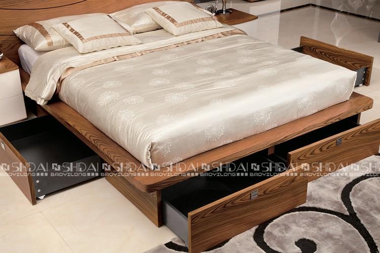 New Model Simple Design Wooden Storage Platform Modern Bed B 814