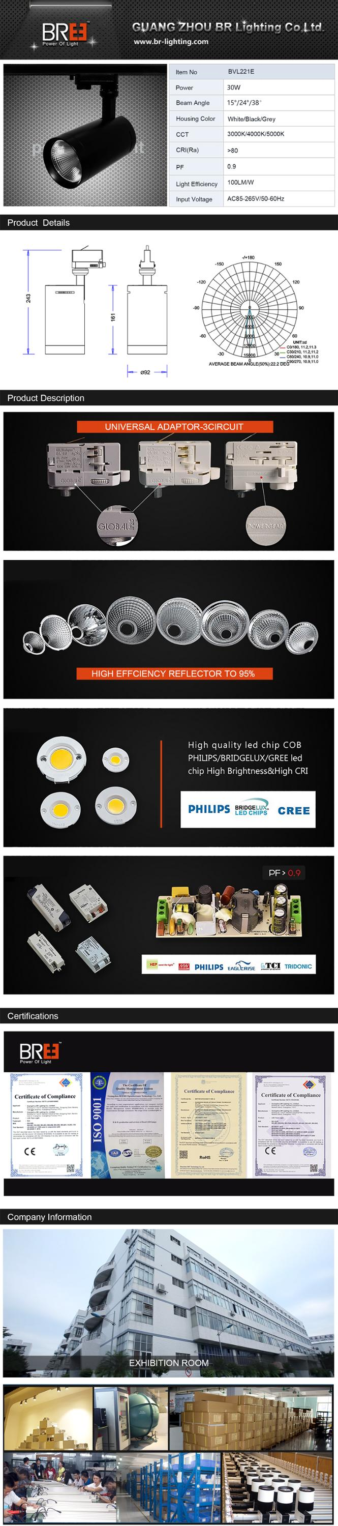 CE Rohs COB LED track light 3 phase track light 30W
