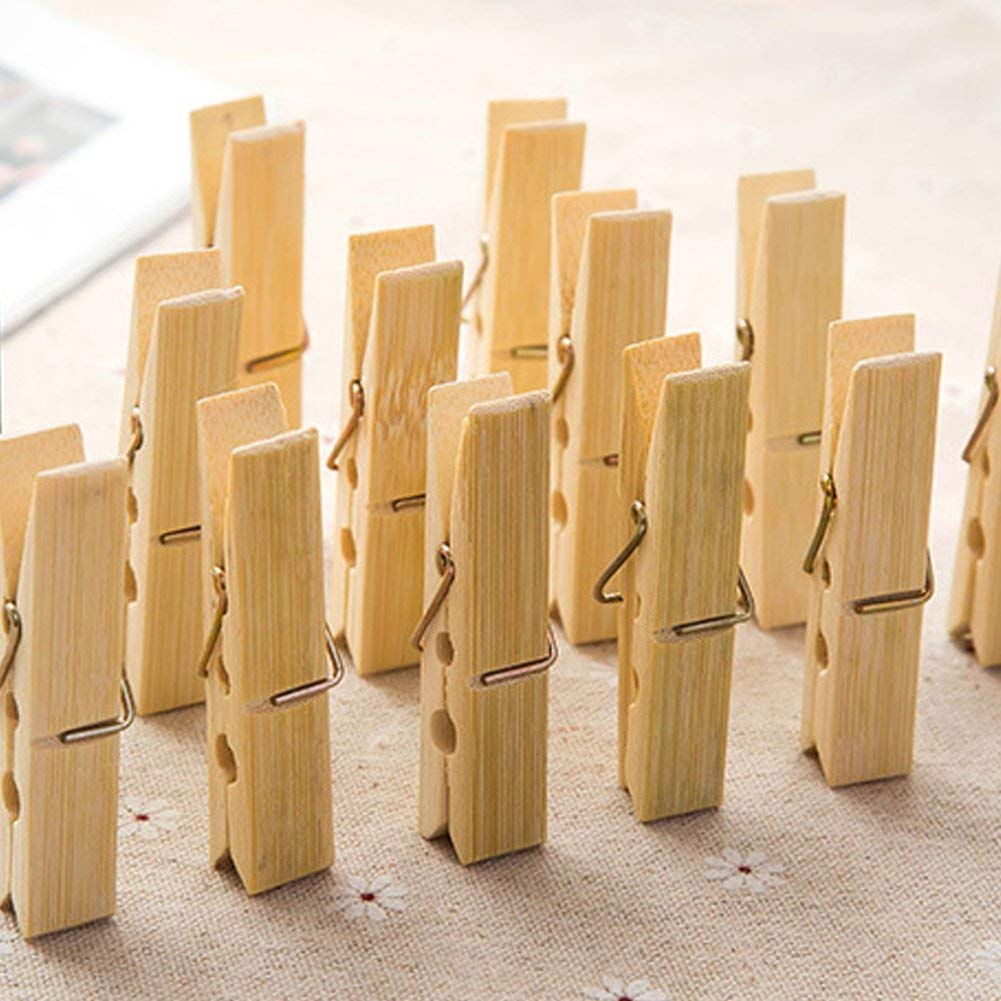 Ragdoll50 Household Fixation Clamp Multi-functional Wooden Clips, Laundry Pegs Natural Bamboo Clothes Clips Socks Underwear Clip, Set of 20(20pcs/pack,Wooden)
