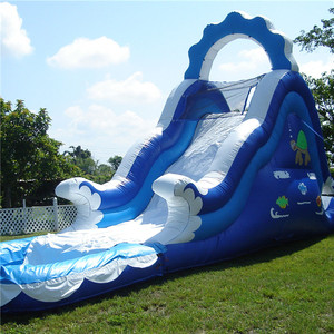 2018 blue and white summer used inflatable water slide with pool for garden