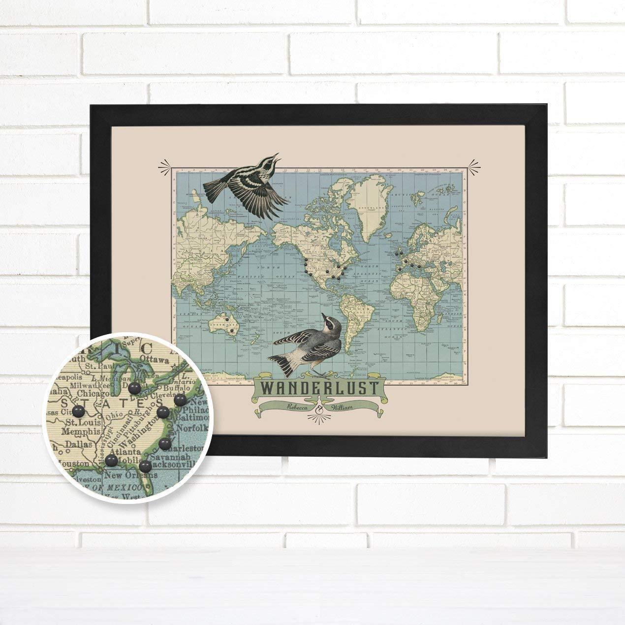 """Personalized""""Wanderlust"""" Travel Push Pin Map Art"""