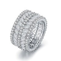 Luxury Female White Gold Color Zircon Bridal Wedding Rings women girls