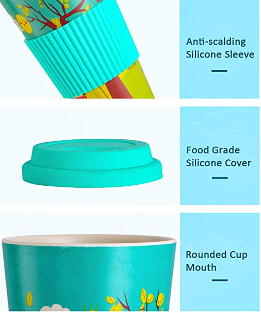 With All Accessories and WITH LID Shape reusable Bamboo Fiber tea cup with straw