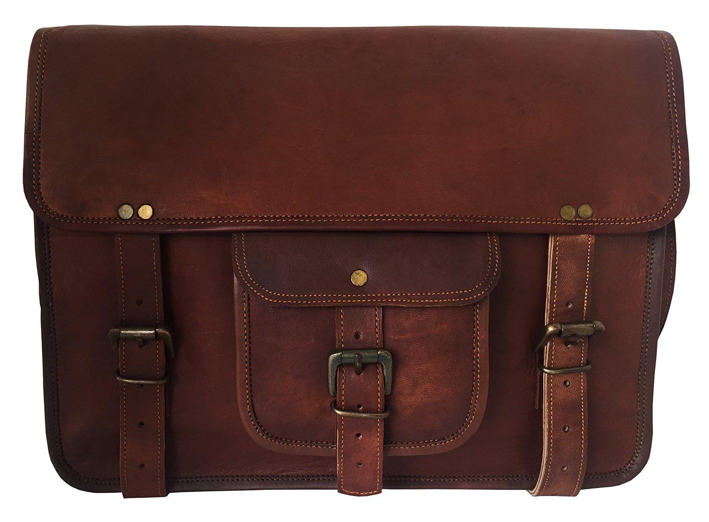 HLC Leather Unisex 100% Genuine Real Leather Messenger Bag for Laptop Briefcase Satchel ...