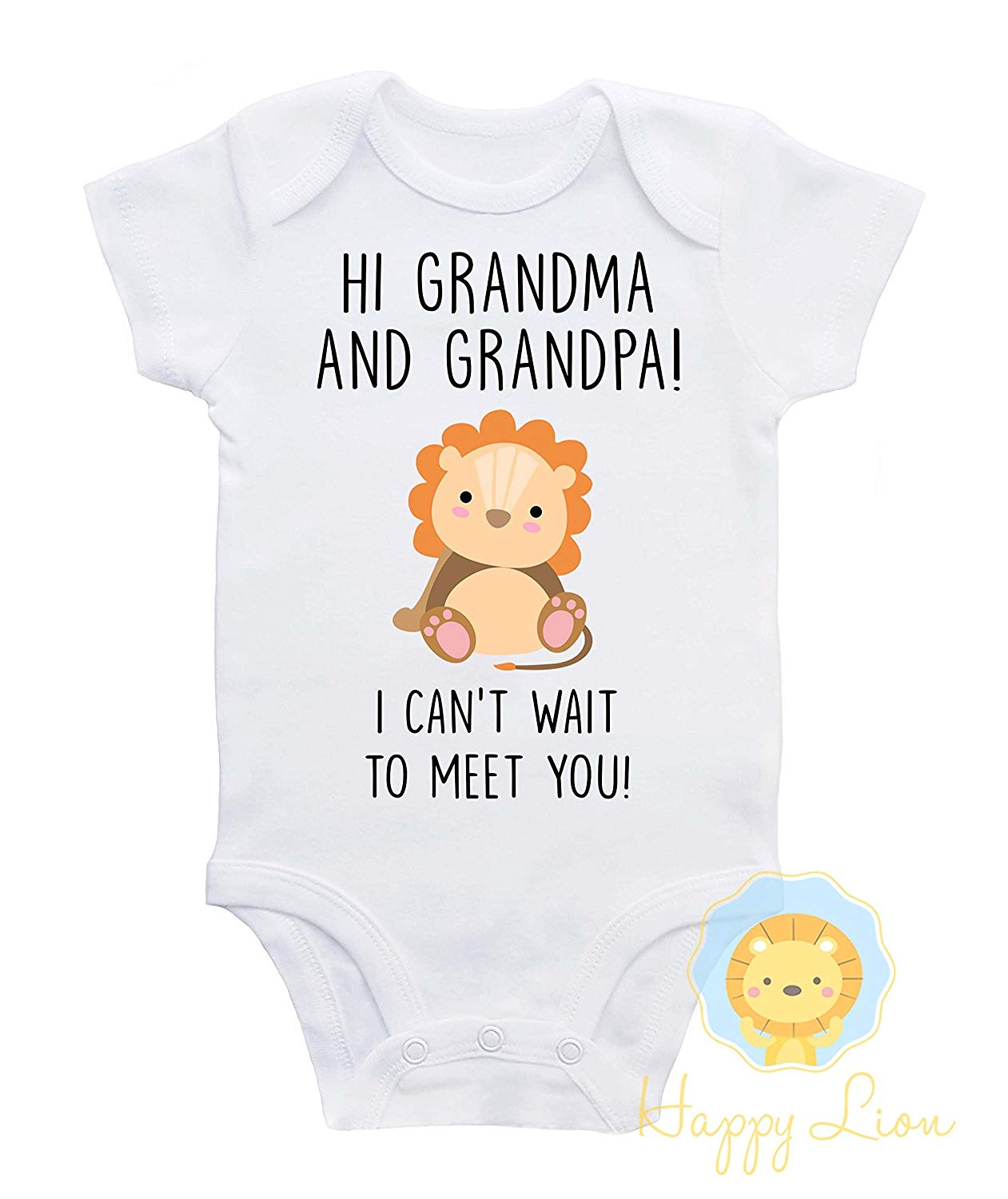 6648919e6 Get Quotations · Happy Lion Clothing - Grandparents announcement Onesie®, Grandparents  Onesie®, Pregnancy Announcement Onesie
