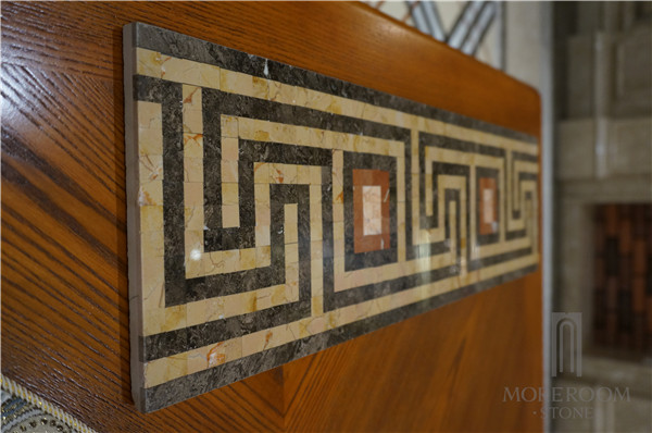Marble Mosaic Borders Turkey Brown Composite Marble Floor