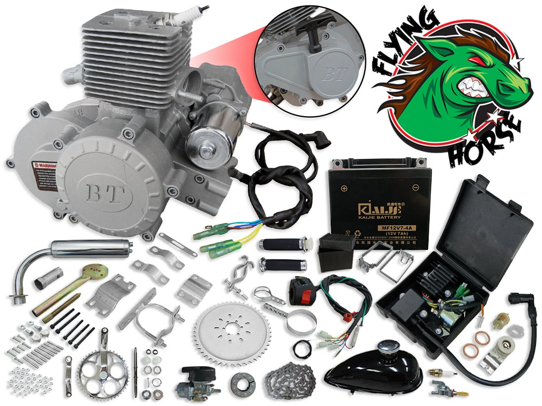 BBR Tuning 66/80cc Bullet Train Electric Start Bicycle Engine Kit - 2 Stroke Gas Powered Bike Motor Engine