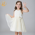 2016 New Arrival Autumn Princess and Party Girls Dress Woolen Draped Mesh Bow Handmade Flowers Pearls