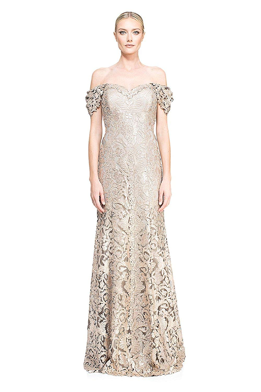 3a24343e34f Get Quotations · Tadashi Shoji Off Shoulder Embroidered Lace Evenng Gown  Dress