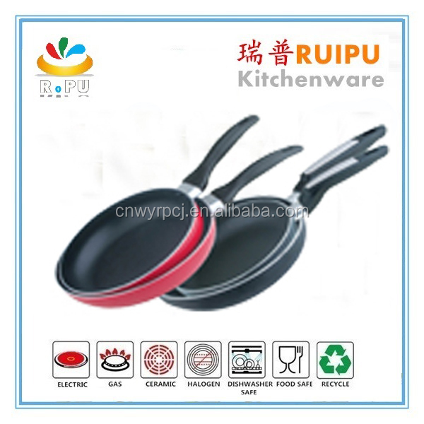 New item for 2016 kitchenware aluminium ceramic cookware with white color painted handle porcelain fry pan