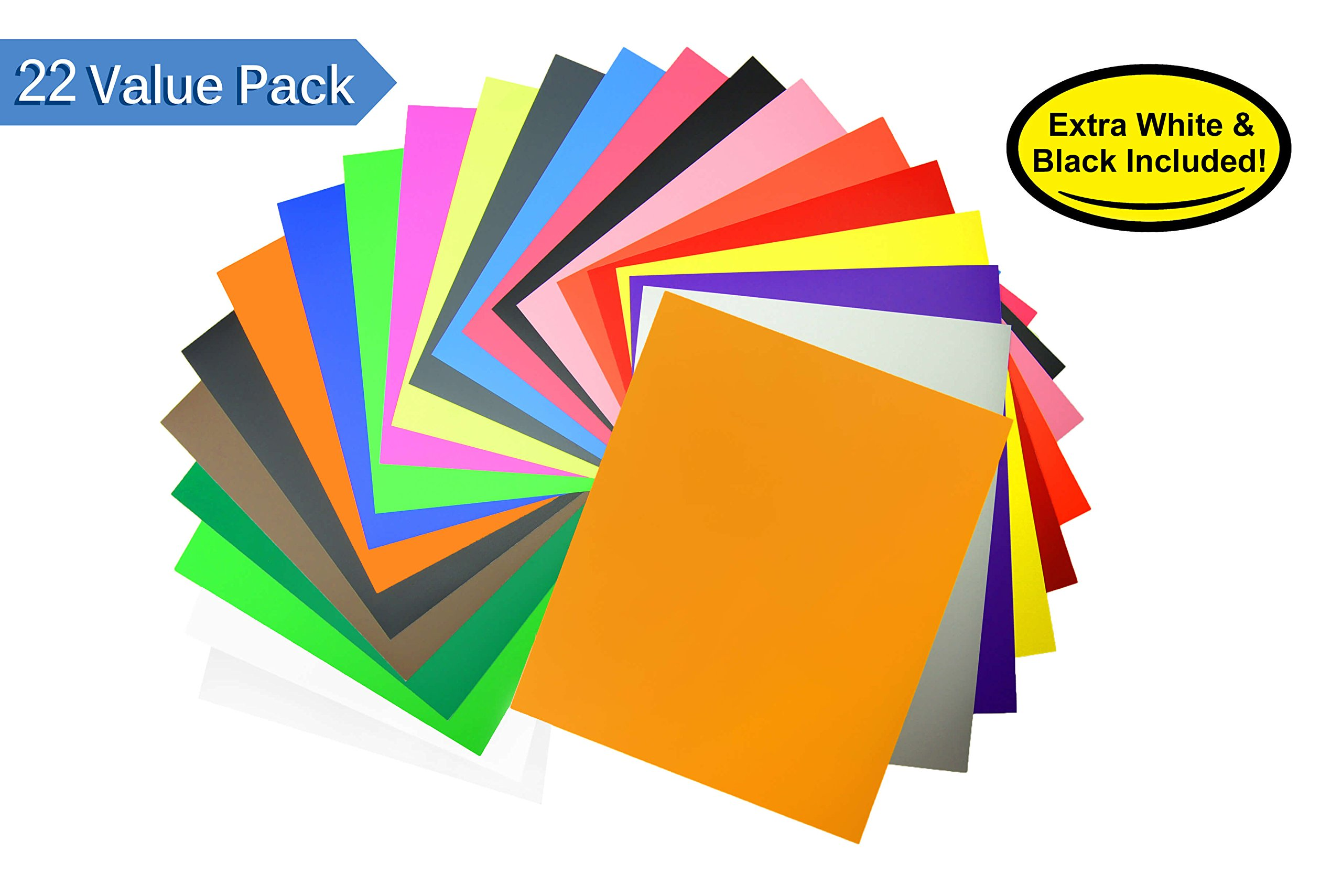"Premium Heat Transfer Vinyl Bundle - 22 Assorted Colors Pack | 12""x10"" HTV Vinyl Sheets 