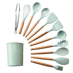 Silicone Cooking Utensils 11 pcs Kitchen Utensil set Wooden baking utensil set