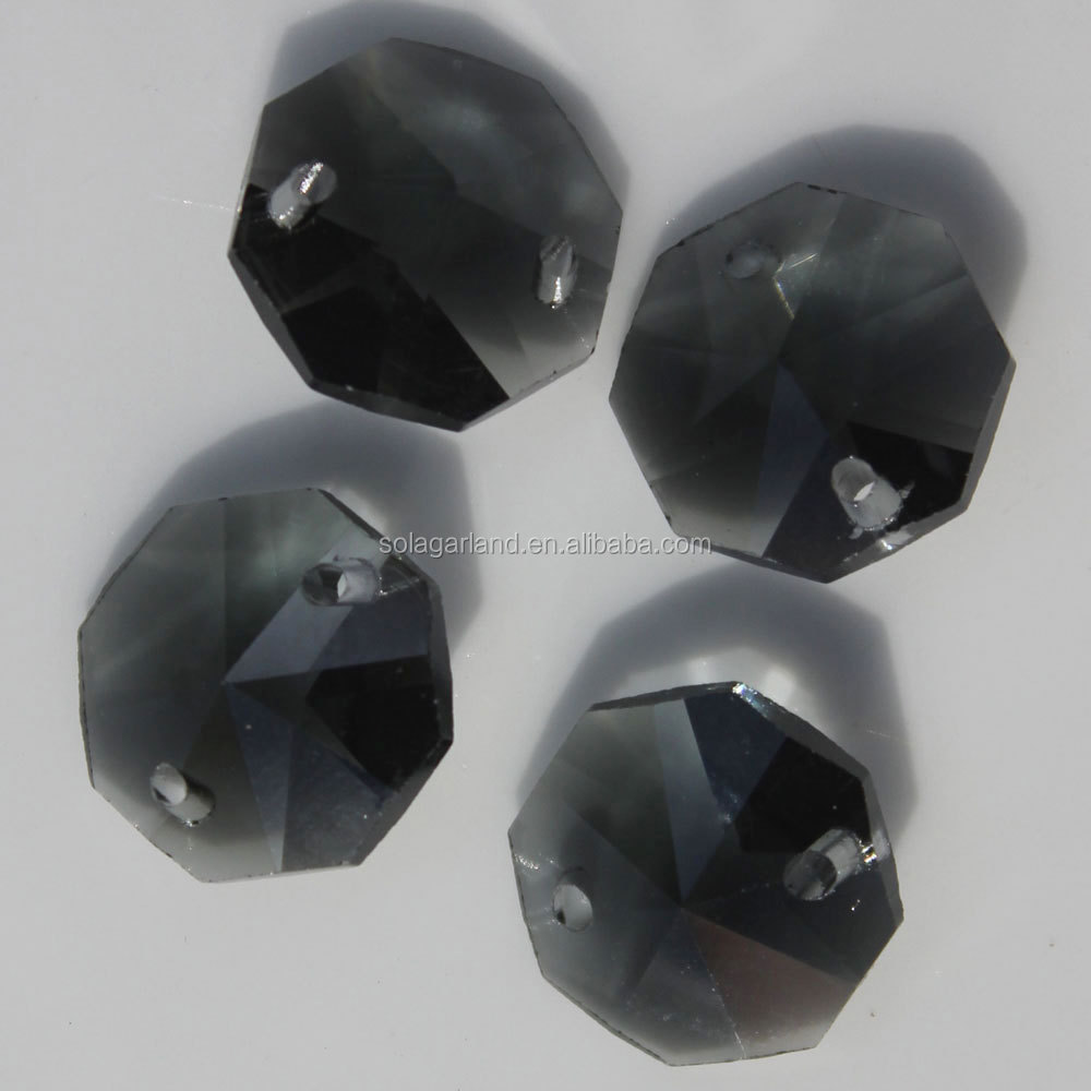 Wholesale Black 14mm Octagon Crystal Beads For Chandelier Parts