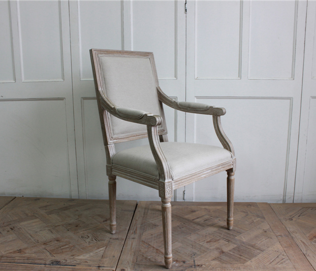 wholesale rustic furniture wood armchair frame with linen