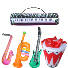 2sets/lot  simulation Inflatable game toys musical instrument drum set ,electonic organ ,sax,horn ,drum,guitar children toys
