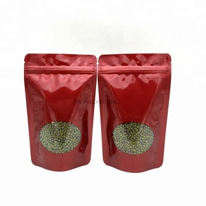 high quality wholesale China manufacturer plastic aluminum foil doy pack ziplock for spice nut powder packing red gloden sliver