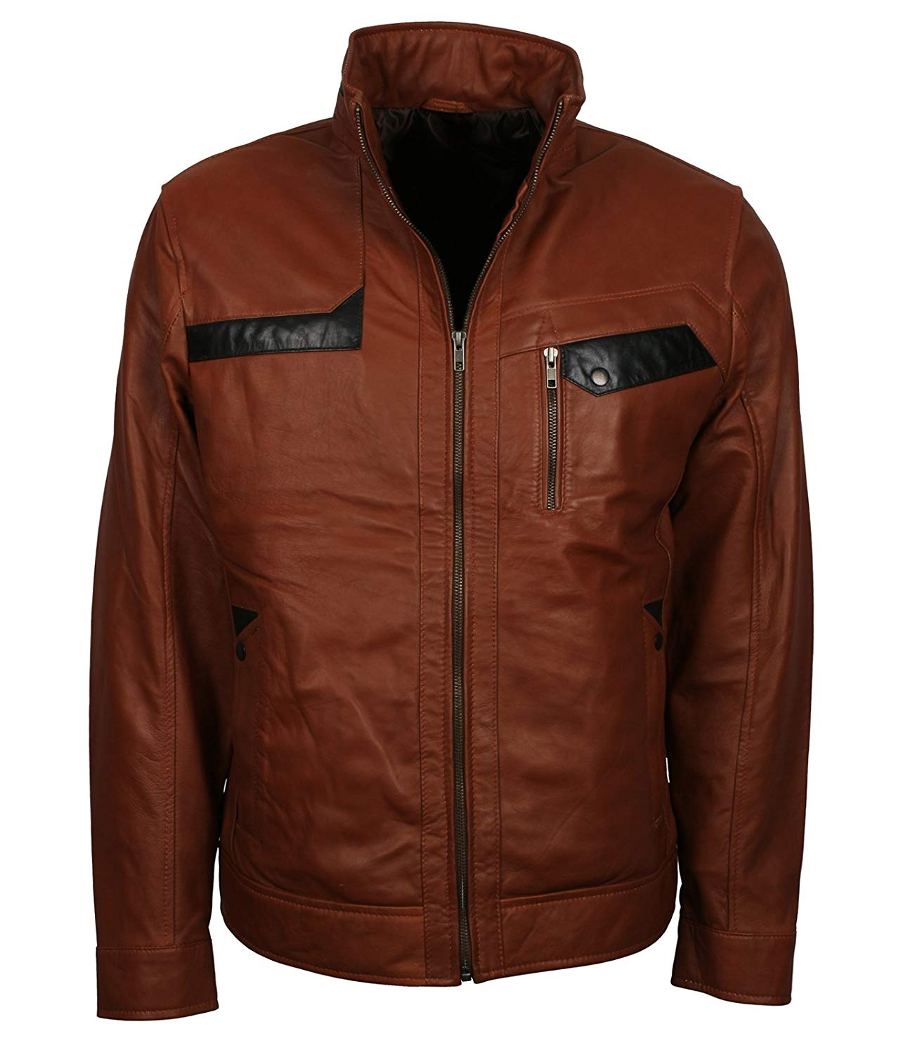 CLARK Mens Brown Hooded Casual Stylish Bikers Real Soft Leather Jacket 8344