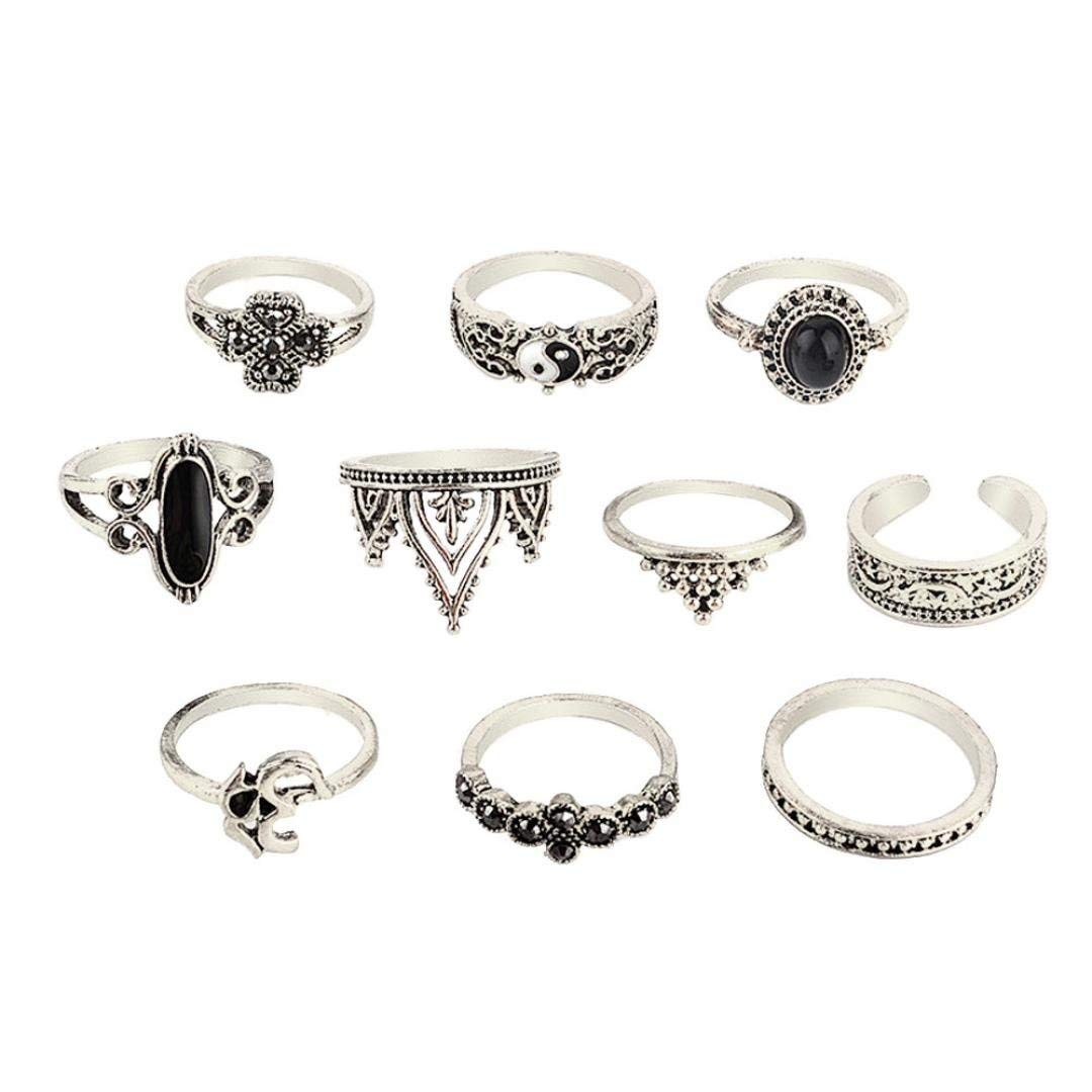 Joopee Retro Rings Set,10pcs/Set Women Bohemian Vintage Silver Stack Rings Above Knuckle Blue Rings Gift