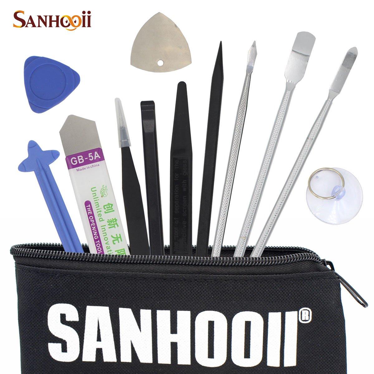 SANHOOII 12in1 Mobile Phone Repair Tools Set for iPhone Tablet Smartphone Disassemble Metal Spudger Nylon Opener Computer Repairing