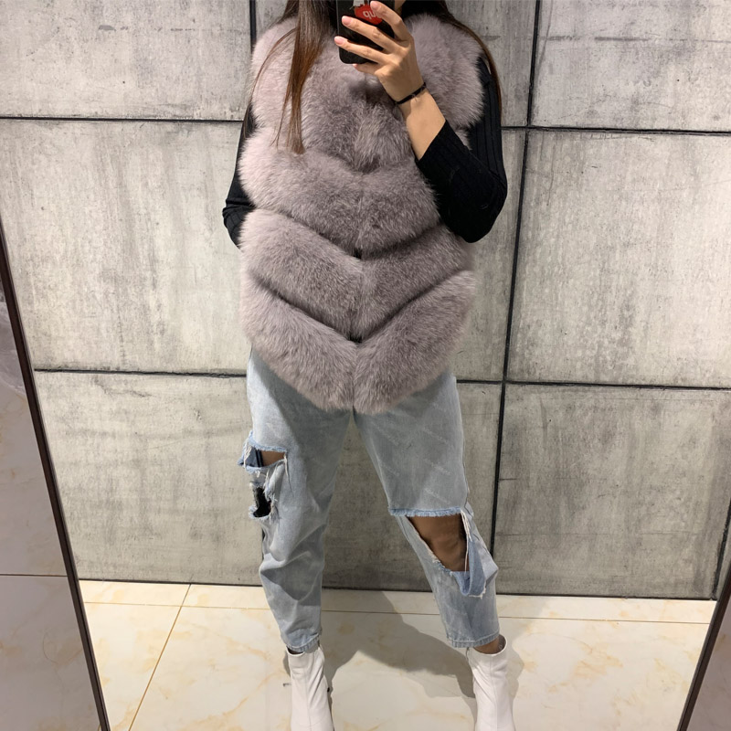 women full pelt soft real fox fur vest ladies natural fox fur vest