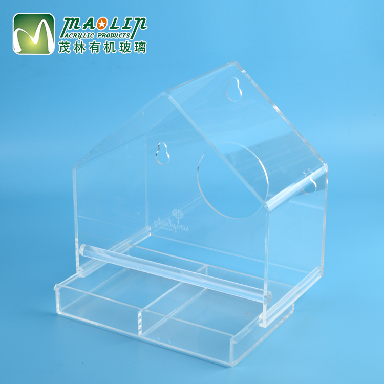 Clear plexiglass custom high quality durable transparant house shaped acrylic bird cage