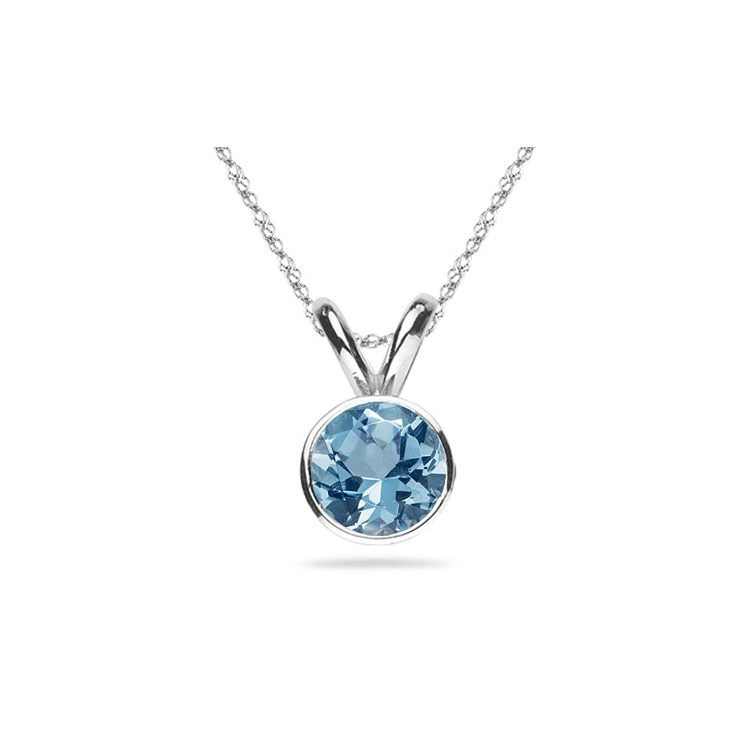 46caaf0409c Get Quotations · 2.00 Cts of 8 mm AAA Round Aquamarine Solitaire Pendant in 14K  White Gold