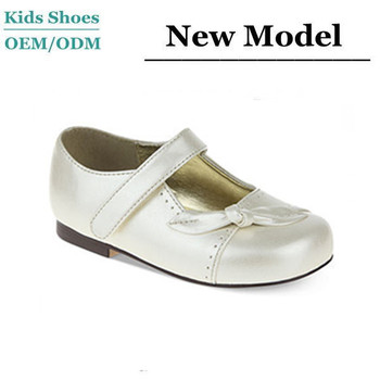 2014 New Collections Girls White Leather Dress Shoes Elegant School