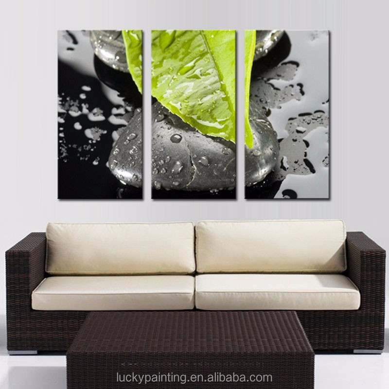 LK362 3 Panel Greed Leaf And Stone With Drop Of Water Wall Art Modern Pictures Print On Canvas Paintings Sale For Home Bar Hub