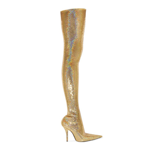 WETKISS Party Shining Pointed Toe Over Knee Boots Stiletto High Heel Slip On Stretch Boots Solid Color Glitter Thigh High Boots