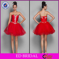 2014 Attractive Short Sweetheart Beaded Tulle Knee Length Red Cocktail Dresses