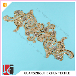 HC-3236 Hechun India Style Blind Sequin Bead Guipure Bridal Lace Applique