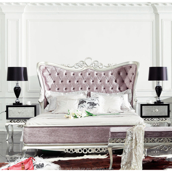 French Rococo Silver Color New Classic Furniture Bedroom Luxury Bed
