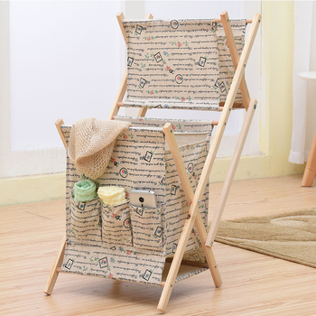 2017 High Quality Basket Fabric Folding Wooden Shelf 2 Tiers Hanging Baby  Clothes Storage Basket