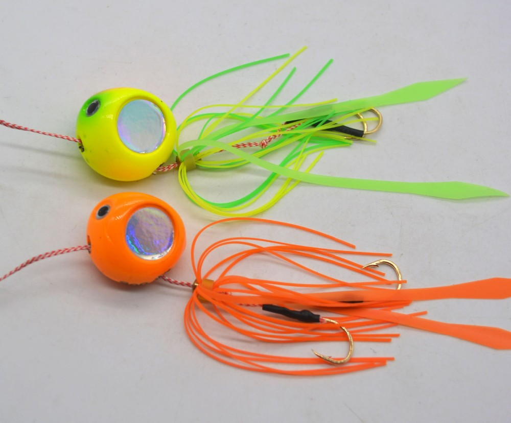 High Quality 80g 100g Bright colors round lead with silicon skirts fishing lures rubber jigs head