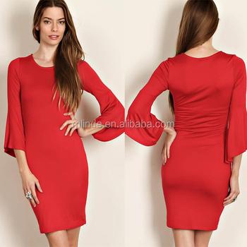 59a59d2804b Boutique Vêtements Jersey Moulante Robe Conceptions Col Rond Manches Cloche  Mode Mini Court Rouge Sexy Soirée