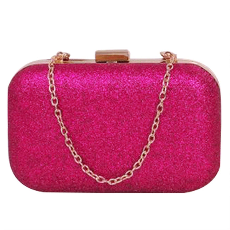 Mini Evening Bag - SODIAL(R)PU leather Women's mini evening bag fashion clutch banquet bag girls shoulder bag Messenger bag, Rose Red