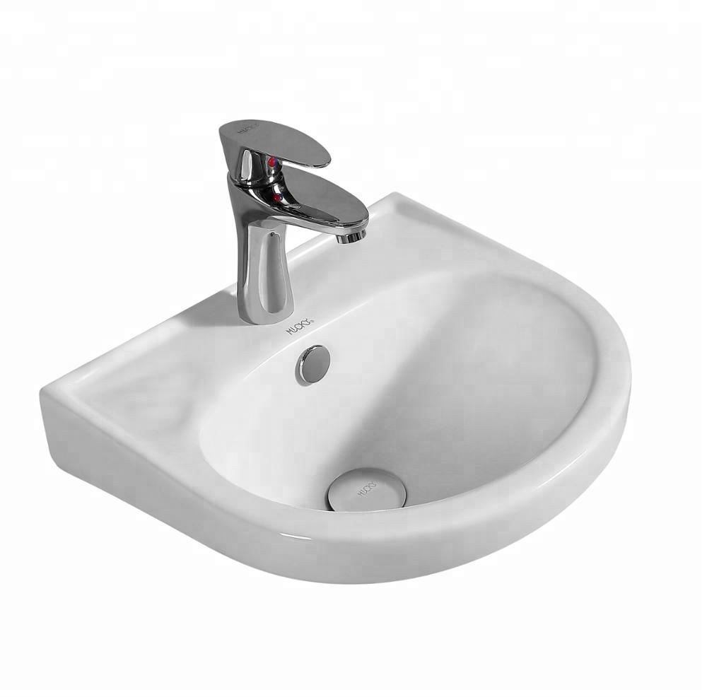 Bathroom Ceramic Wall Mounted Lavatory Sink Wash Hand Small Corner Vanity Hung Basin