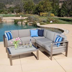 Houston Grey Mixed Outdoor Sectional sofa Hot Sale brushed aluminum Garden Furniture Function Patio Sofa For Hotel